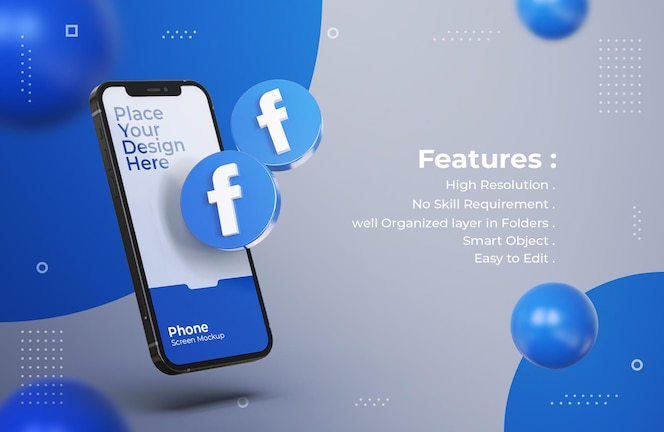 모바일 화면 모형이있는 3d 페이스 북 아이콘