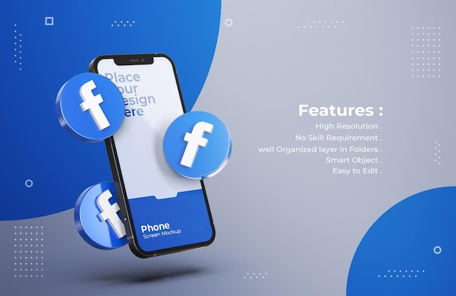 Icone di facebook 3d con mockup di schermo mobile