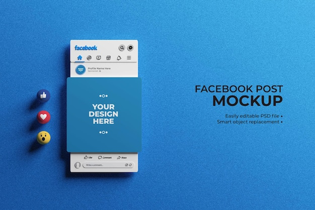 3d facebook interface with emojis for social media post mockup