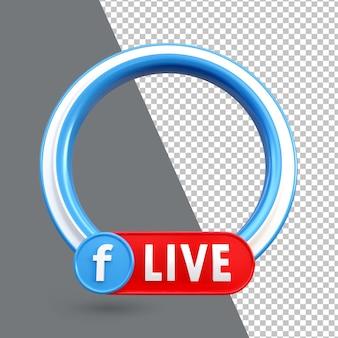 3d 페이스 북 라이브 스트리밍 소셜 미디어 프레임 아이콘