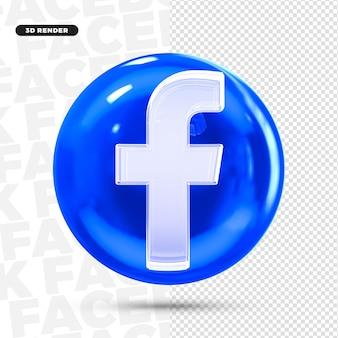 3d значок логотипа facebook для композиции premium psd