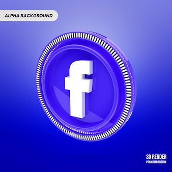 3d facebook logo isolated rendering