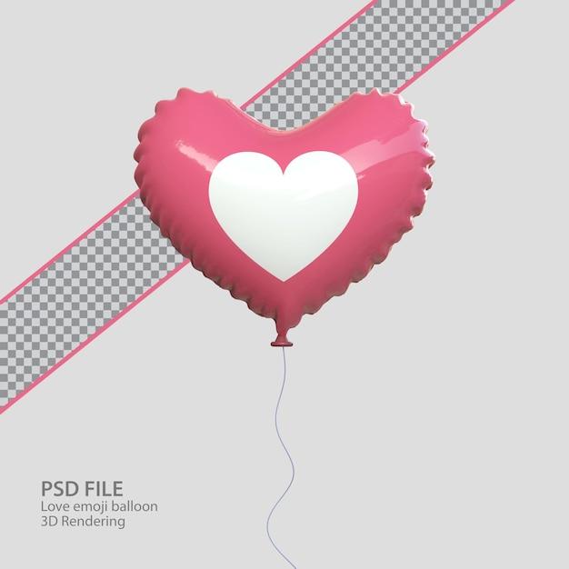 3d facebook love emoji с рендером в стиле воздушного шара Premium Psd