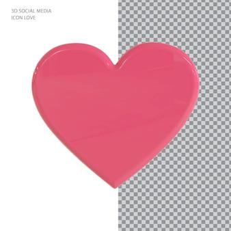 3d facebook 사랑 아이콘