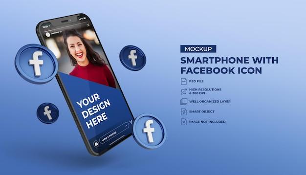 모바일 화면 스마트 폰 모형과 3d 페이스 북 소셜 미디어 아이콘