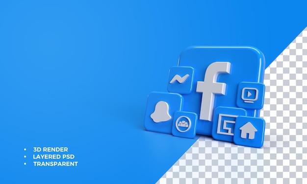 페이스 북 응용 프로그램에서 아이콘이있는 3d 페이스 북