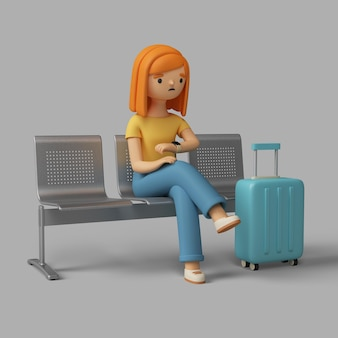 3d female character checking the time while sitting at the airport