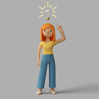 アイデアを持っている3d女性キャラクター