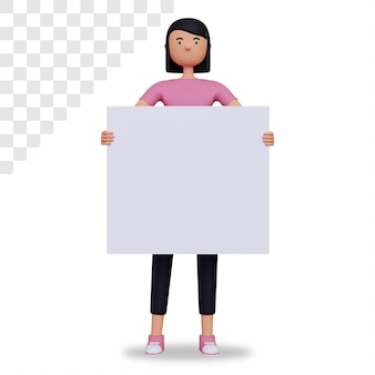 빈 보드를 들고 3d 여성 캐릭터