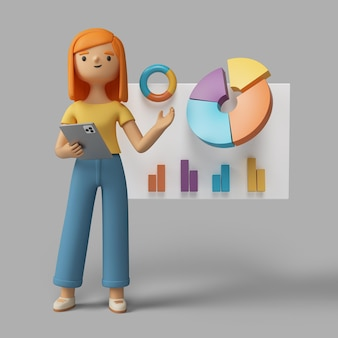 3d female character holding tablet and pointing to pie chart