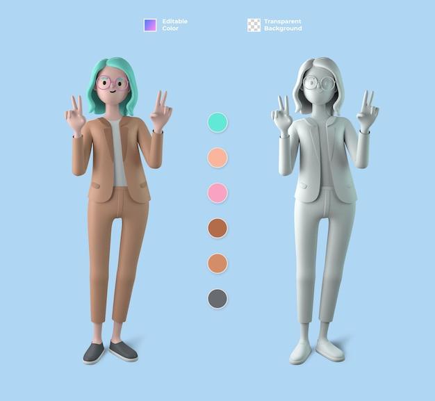 3d макет женского персонажа