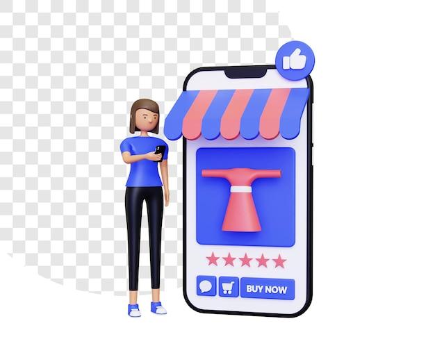 전자 상거래에서 쇼핑하는 3d 여성 캐릭터