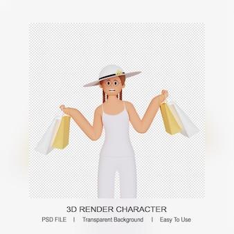 3d женский персонаж с сумкой для покупок