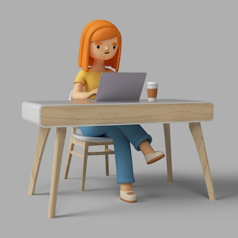 3d female character working at desk with laptop