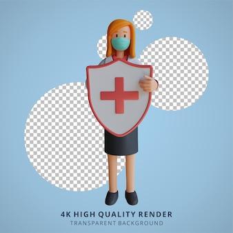 건강 방패 캐릭터 디자인 일러스트를 들고 마스크를 쓰고 3d 여성 의사