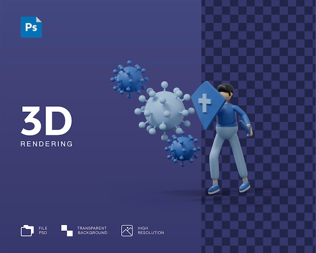 3d борьба с вирусом иллюстрация с медиком