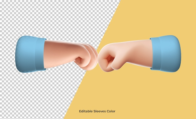 3d fist-bump hand icon rendering isolated
