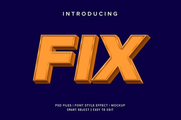3d fix square bold font style effect mockup