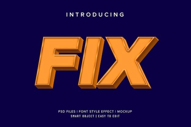 3d fix макет эффекта шрифта квадратный жирный шрифт