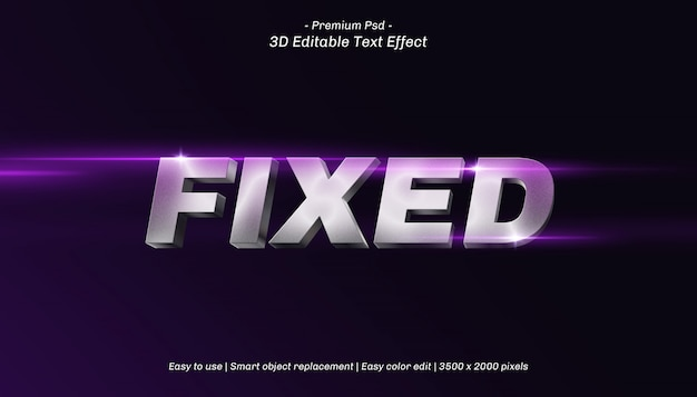 3d fixed editable text effect