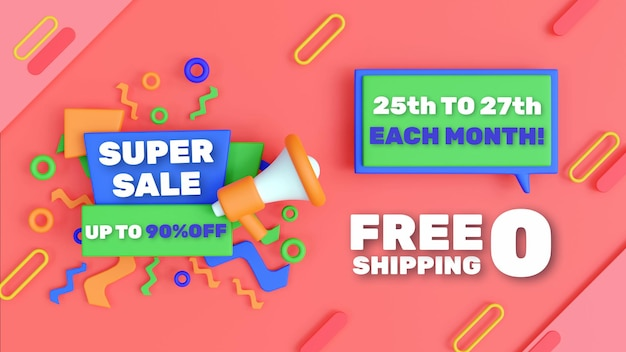3d flash sale background with editable text