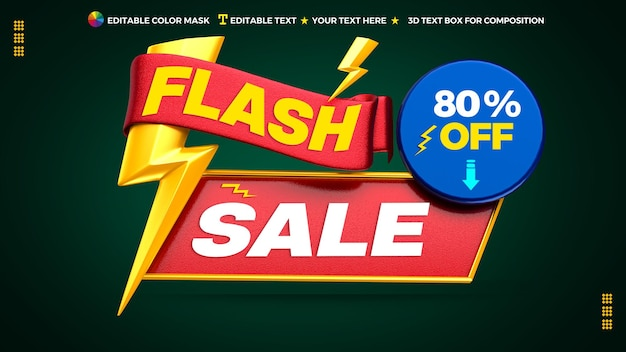 3d flash sale promotional banner with circle text box and ribbon