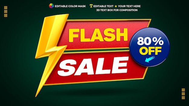 3d flash sale promotional banner with text box and circle