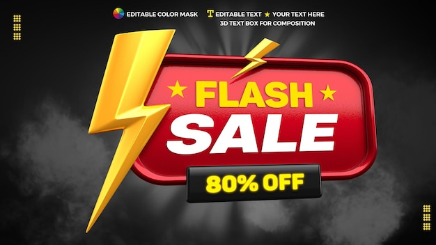 3d flash sale promotional banner with up to 80% discount