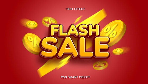 3d flash sale text effect with yellow and red color theme.