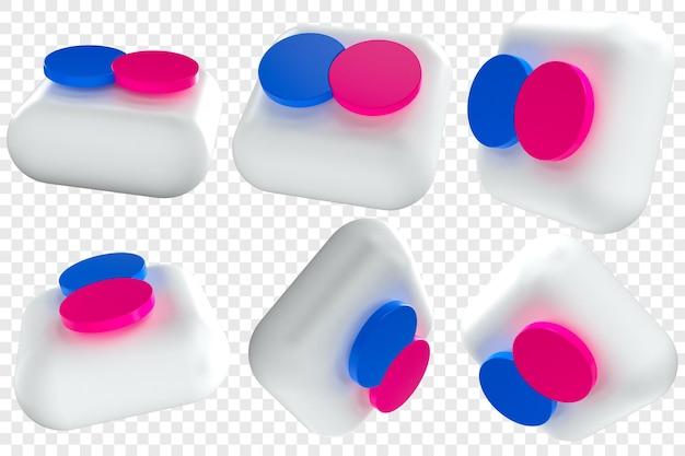 3d иконки flickr в шести разных ракурсах, изолированные иллюстрации