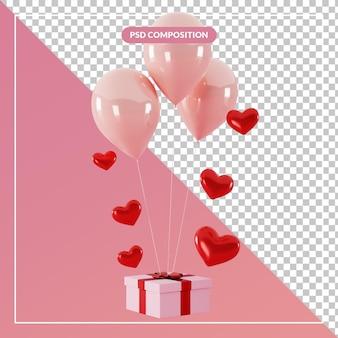 3d 렌더링에서 풍선과 사랑 심장 기호로 3d 부동 선물 상자