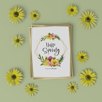 3d floral frame with hello spring card