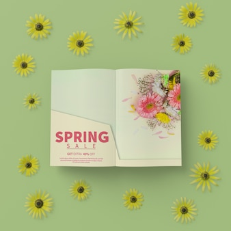 3d floral frame with spring card on table