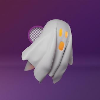 3d летающий призрак счастливый хэллоуин иллюстрация