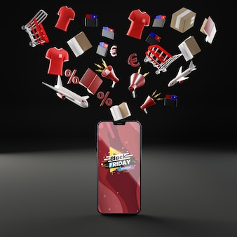 3d flying objects and mobile phone mock-up black background