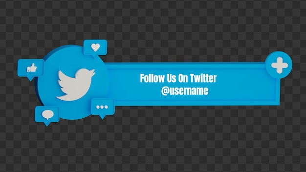 3d 트위터 소셜 미디어 사용자 이름에서 우리를 팔로우하십시오.