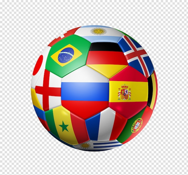 3d football soccer ball with team national flags