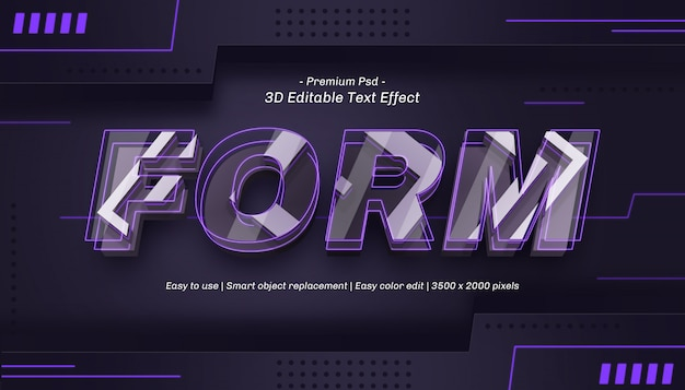 3d form editable text effect