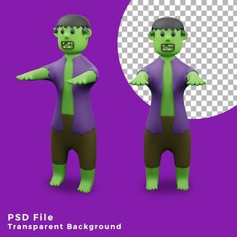 Иллюстрация дизайна значка активов хэллоуина франкенштейна 3d с разным углом высокого качества