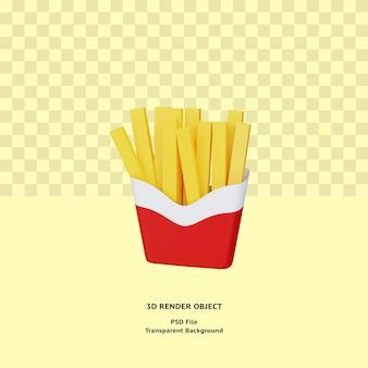 3d визуализация объекта картофеля фри премиум psd
