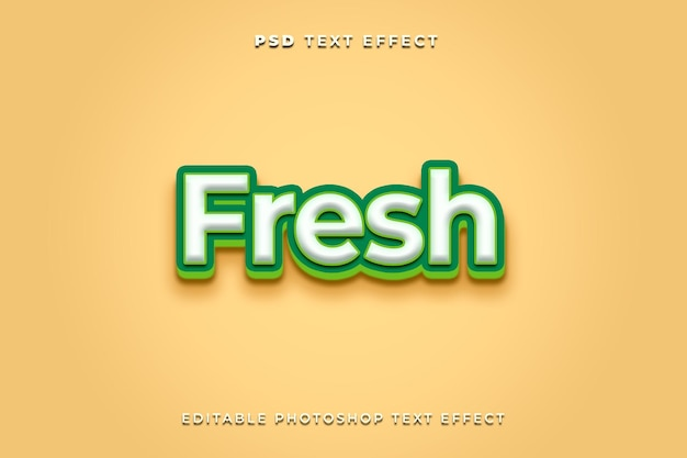 3d fresh text effect template with green color and yellow background