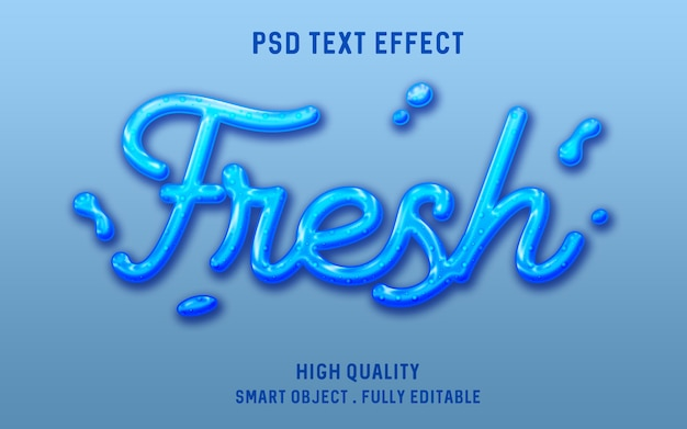 3d fresh water liquid text effect