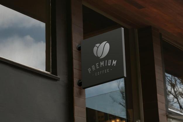 3d-макет логотипа спереди элегантный дизайн вывески на фасаде
