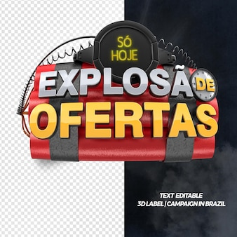 3d front render explosion of offers for general stores and campaigns in brazil
