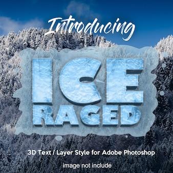 Текстовые эффекты в стиле 3d слоя frozen ice