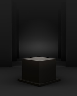 3d geometric black scene with cube podium and editable light for product placement