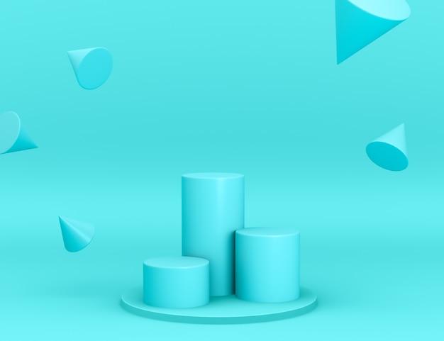 Трехмерные геометрические голубые подиумы для размещения товара с конусами в левитации и редактируемой цветовой гамме