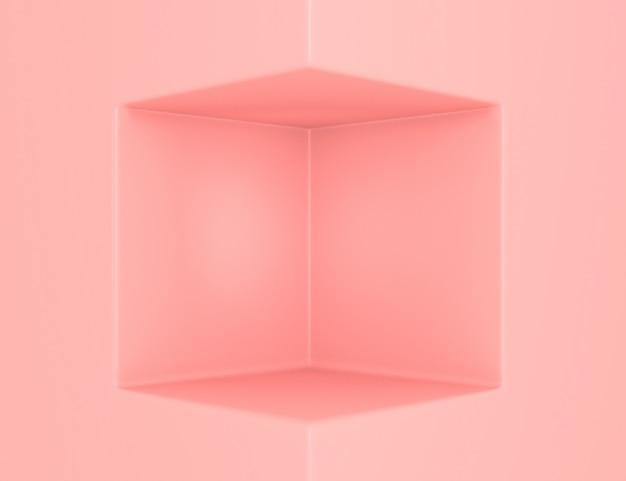 제품 배치 및 편집 가능한 색상을위한 큐브 공간이있는 3d 기하학적 핑크 장면