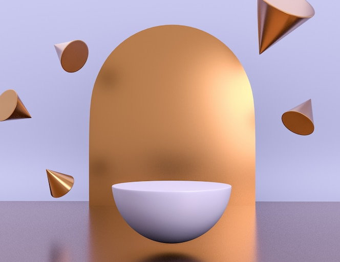 공중 부양 및 편집 가능한 색상의 황동 물체가있는 제품 배치를위한 3d 기하학적 자주색 장면