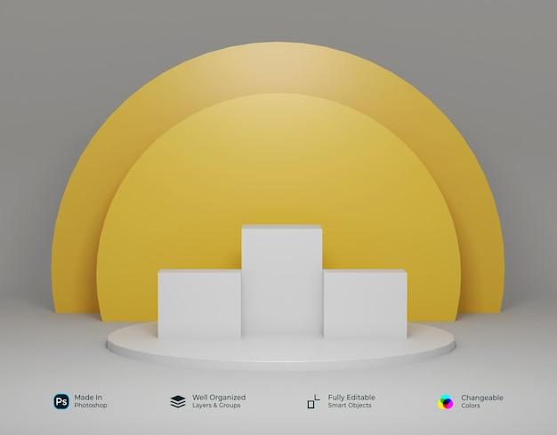 円形デザインの3d幾何学的なホワイトゴールドイエローの表彰台